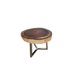 Verona Teak Root Slab Modern Side Table Large