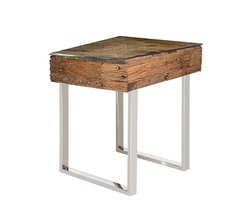 Amalfi Modern Reclaimed Teak Wood Side Table
