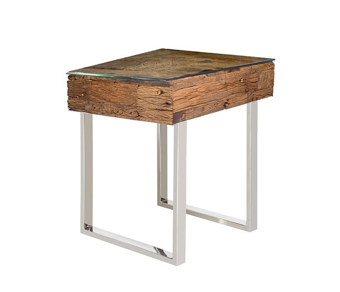 Modern Amalfi Reclaimed Teak Wood Side Table ...