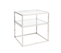 Ivoire Modern Square Side Table with marble top, Glass shelf and stainless steel base.