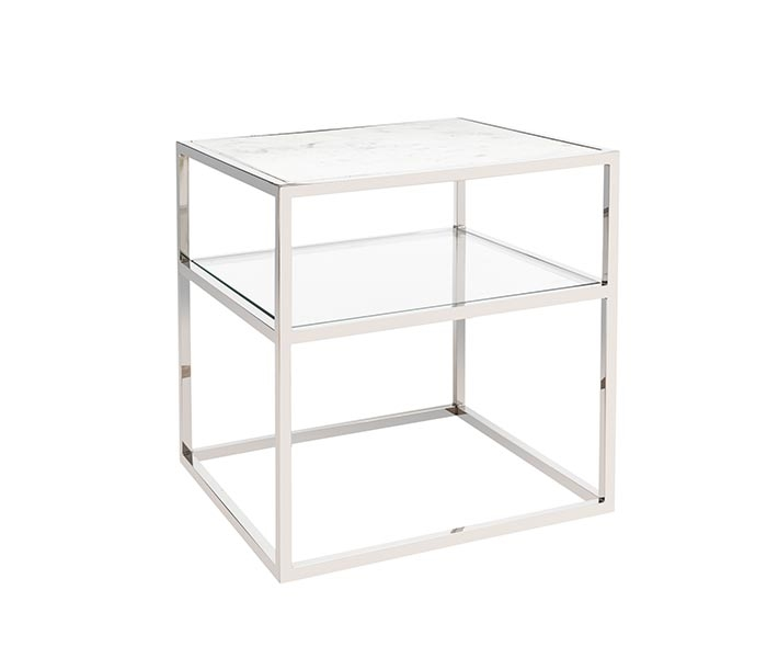 Ivoire Modern Square Side Table With Marble Top Gl Shelf And Stainless Steel Base
