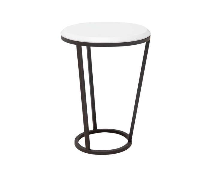 Bergamo Modern White Lacquer Side Table