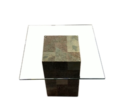 Pedestal Tempered Glass Side Table