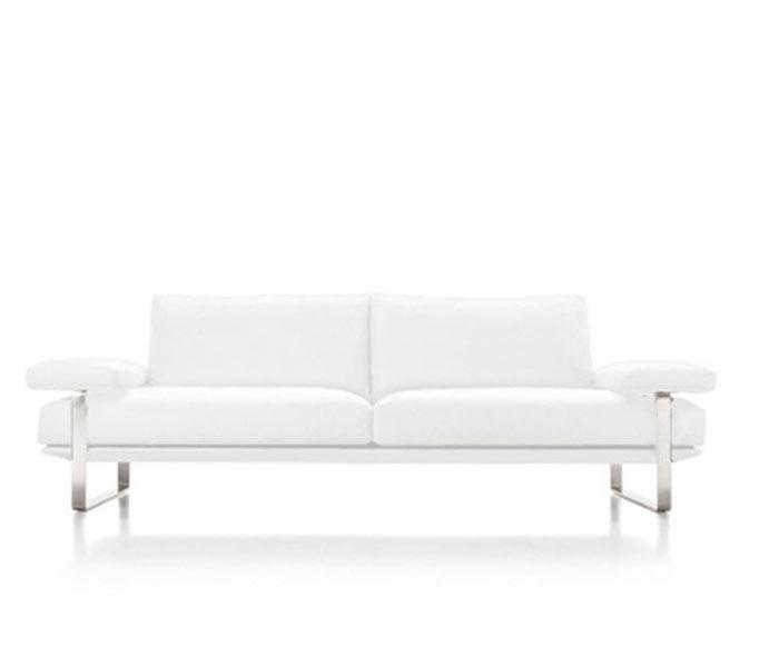 Lizzano White 100% Italian Leather - Modern Sofa - FINAL SALE/NO RETURNS