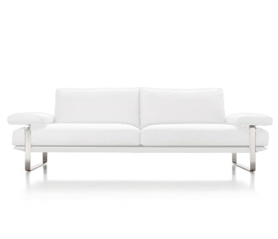 Enfield Modern White Leather Sofa: Sofas & Sectionals