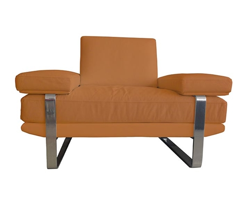 Lizzano Modern Sofa Chair in Camel Leather