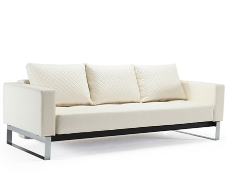 Cassius Deluxe Modern Sofa Modern Bed Full size - Off-White leatherette