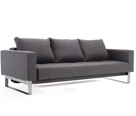Cassius Quilt Modern Sofa Modern Bed Full size - Anthracite Grey Fabric