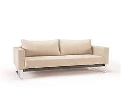 Cassius Sleek Excess Fabric Modern Sofa Modern Bed - Natural Khaki Queen Size* Special Order