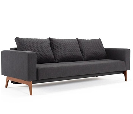 Cassius Quilt Modern Sofa Bed Full size in Anthracite Grey Fabric with Wood legs