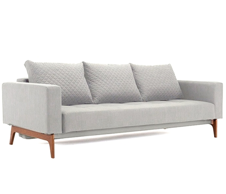 Cassius Quilt Modern Sofa Bed Full size in Dance Natural  Fabric with Wood legs