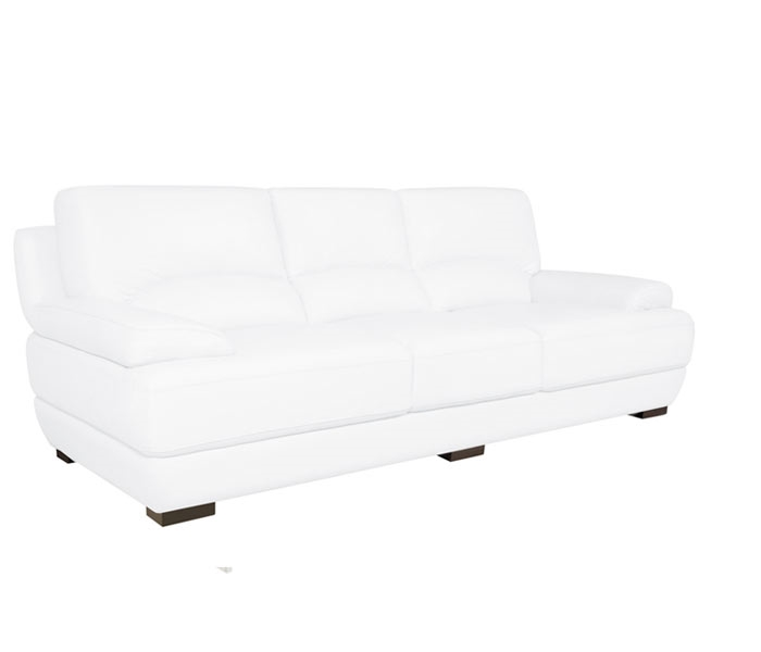 Papoli White Modern Leather Sofa - Three Seater Extra Wide - Sold Out
