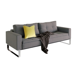 Dual Modern Sofa W/Arms Chrome Legs 55x91  Soft Grey