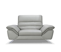 Cosenza Single Modern Lounge Chair 100% Grey Leather