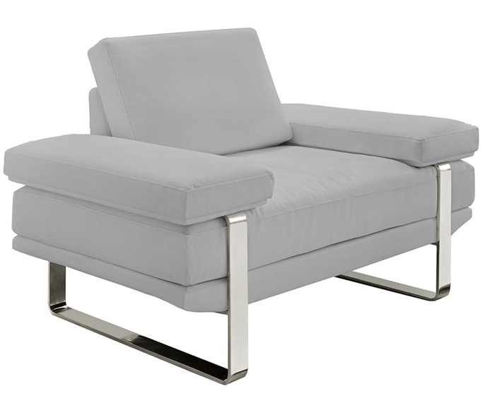 Elegant, Contemporary Sofa Set in 100% Grey Leather