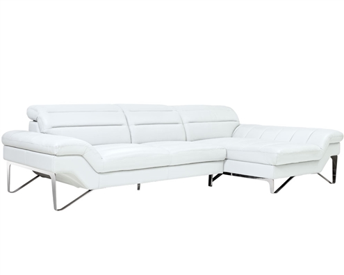 Milano Modern Right Facing Sectional in White Leather