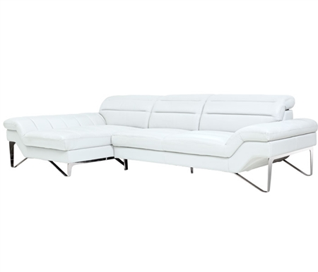 Milano Modern Left Facing Sectional in White Leather