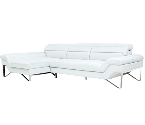Milano Modern Sectional in White Leather