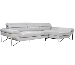 Milano Modern Right Facing Sectional in Grey Leather