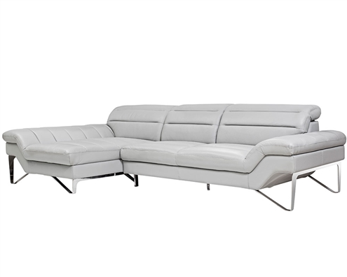 Milano Modern Left Facing Sectional in Grey Leather