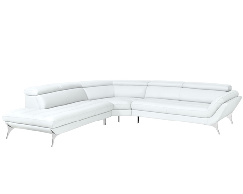 Napoli Modern left Facing Sectional in White Leather