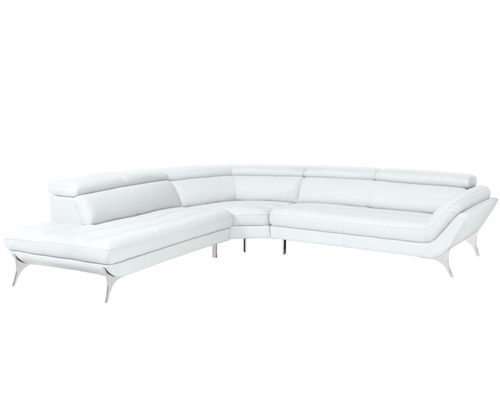 Napoli Modern Sectional in White Leather