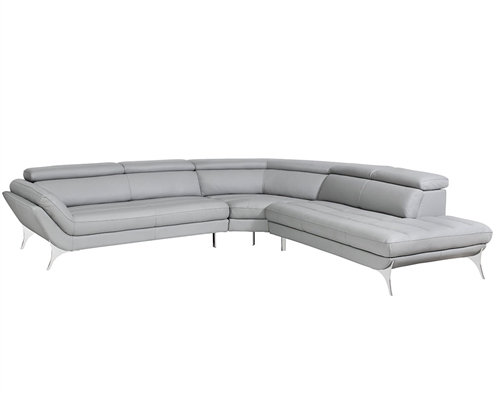 Napoli Modern Right Facing Sectional in Grey Leather