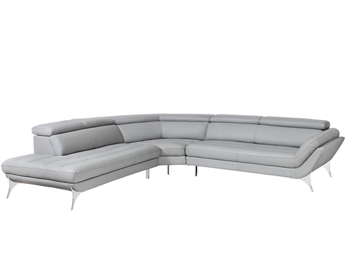 Napoli Modern Left Facing Sectional in Grey Leather