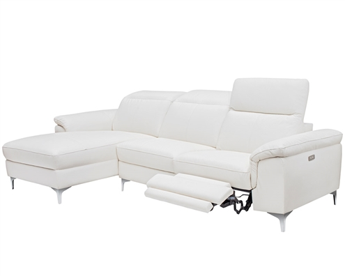 Masino Modern Sectional in Pure White Leather Left Facing Chaise Double Recliner