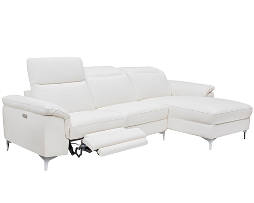 Masino Modern Sectional in Pure White Leather Right Facing Chaise Double Recliners