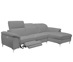 NEw Masino Modern Sectional in Grey Leather Left Facing Chaise Double Recliner