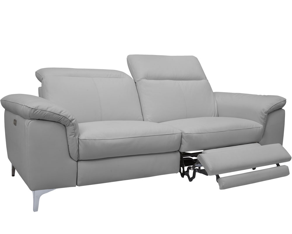 New Masino Modern Sofa in New-Grey Leather With Double Recliner - FTL FLOOR  SAMPLE - AS IS