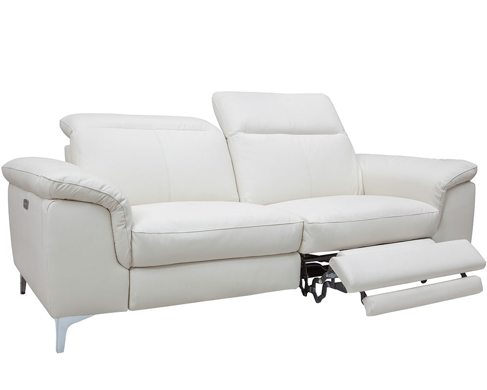 Masino Modern Sofa In Pure White Leather With Two Recliner
