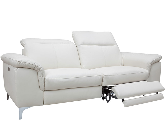 Masino Modern Sofa in Pure-White Leather With two Recliner