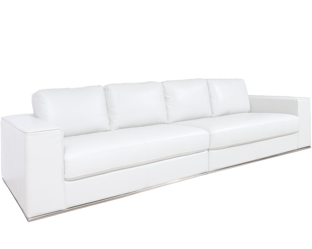Vicenza Modern Four Seater Sofa in White Leather