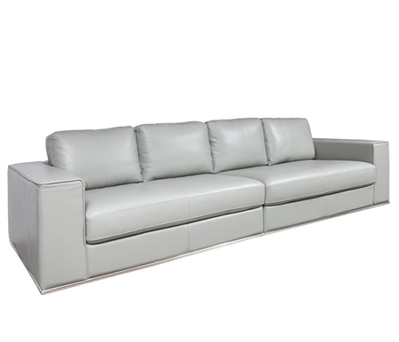 Vicenza Modern Four Seater Sofa in Grey Leather