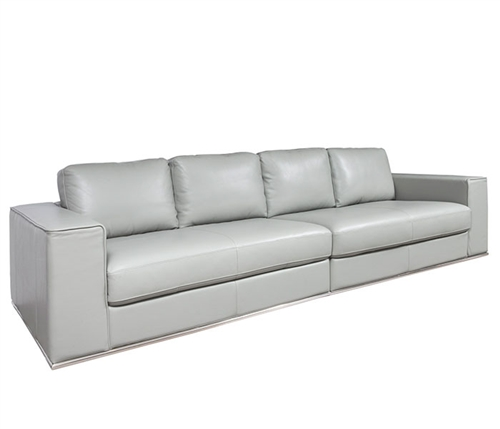 Vicenza Modern Sofa in Grey Leather