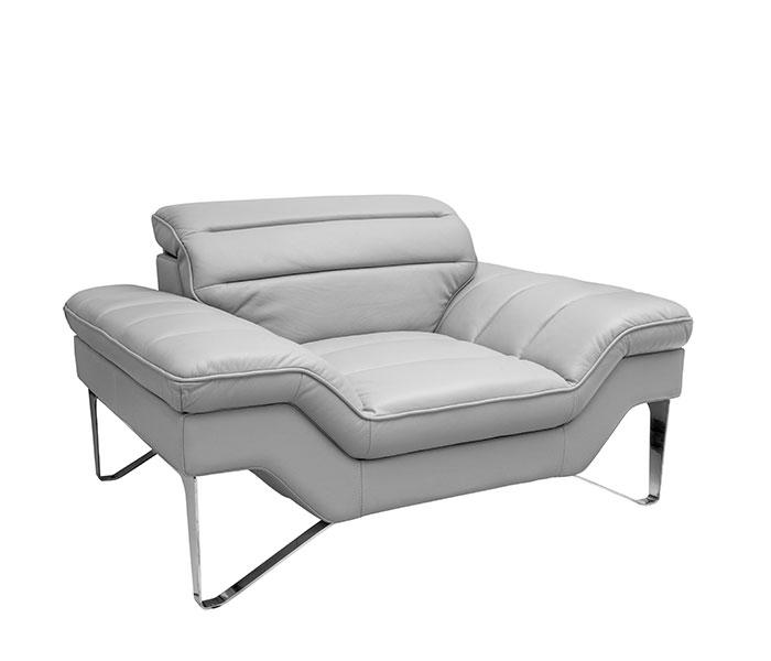 Sofas - Milano Modern Sofa Set in Grey Leather - mh2g