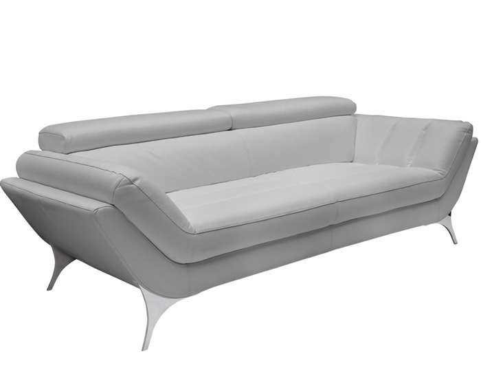 Napoli Modern Sofa Set in Grey Leather