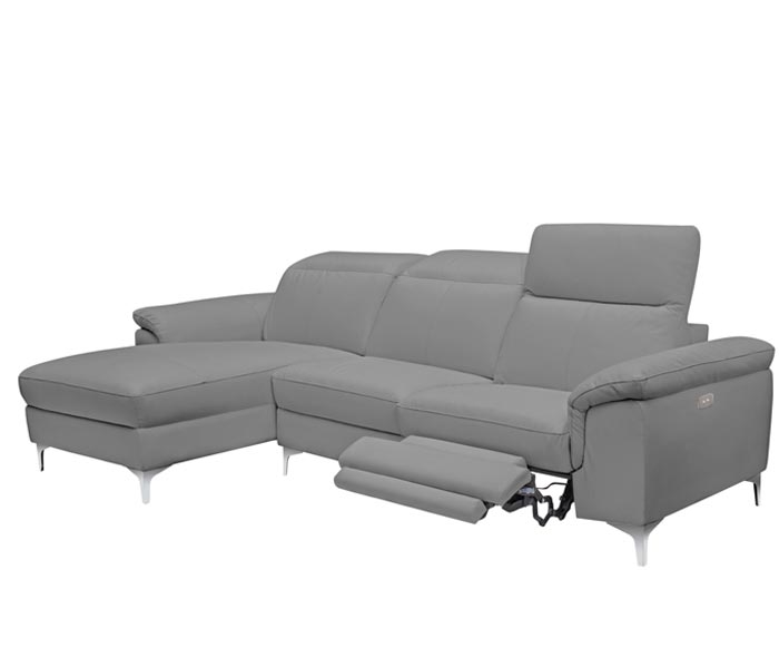 NEw Masino Modern Sectional in new-Grey Leather Left Facing Chaise Double Recliner