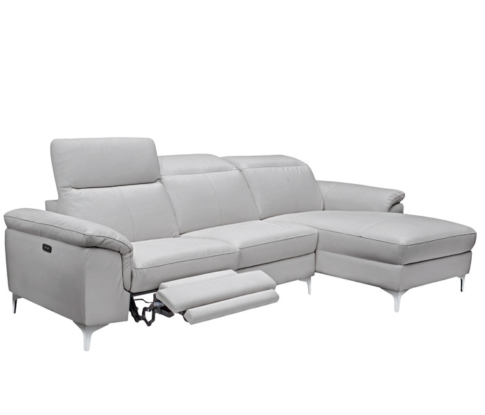 Masino Modern Sectional In New Grey Leather Right Facing Chaise Double Recliner
