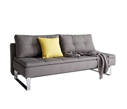 Dual Modern Armless Sofa Chrome Legs 55x79 Soft Grey