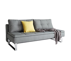 Dual Modern Armless Sofa Chrome Legs 55x79 Soft Pacific Pearl
