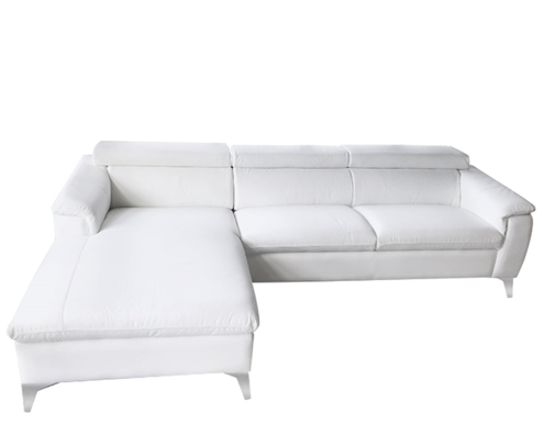 Sectional WHITE Leather Sofa LF