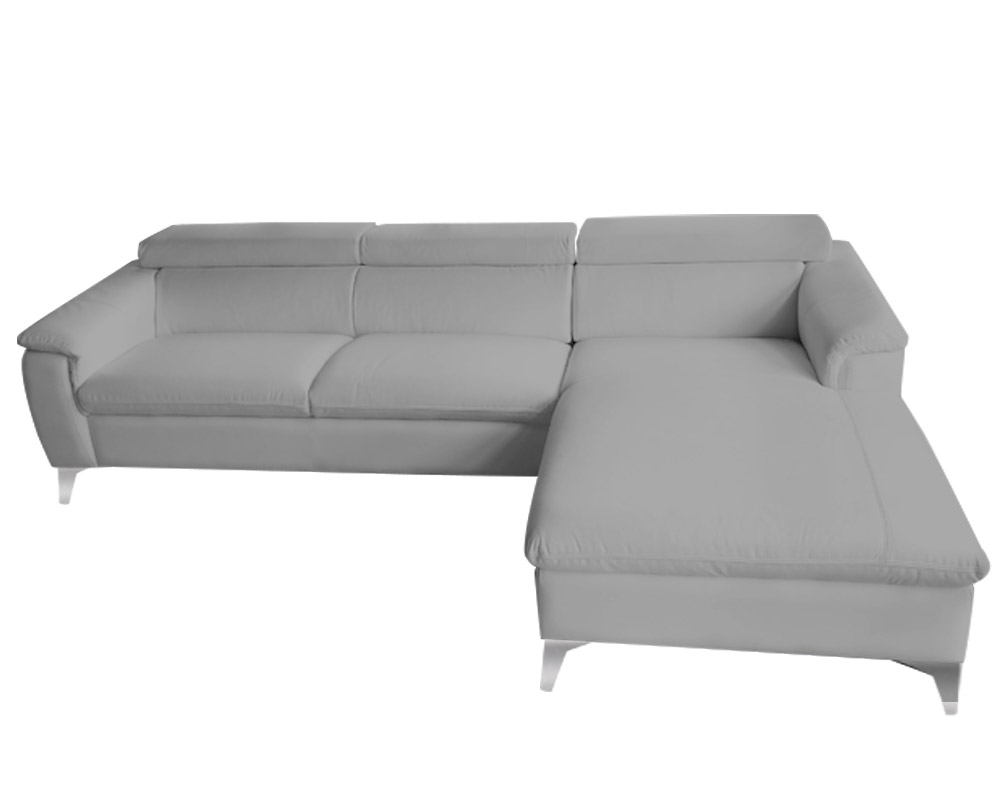 Lucera Sectional GREY Leather