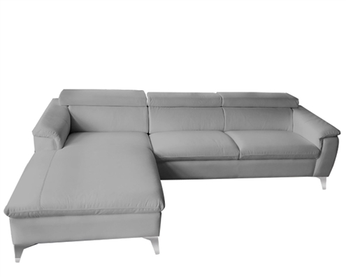 Sectional GREY Leather Sofa LF