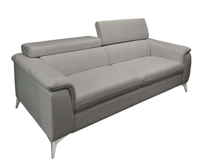 3 Seater GREY Leather Sofa