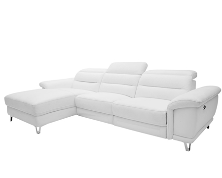 Lorenzo Modern Double recliner Sectional White Leather Left Facing