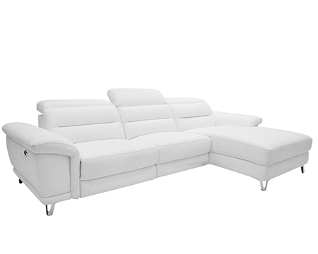 Lorenzo Modern Double recliner Sectional White Leather Right Facing