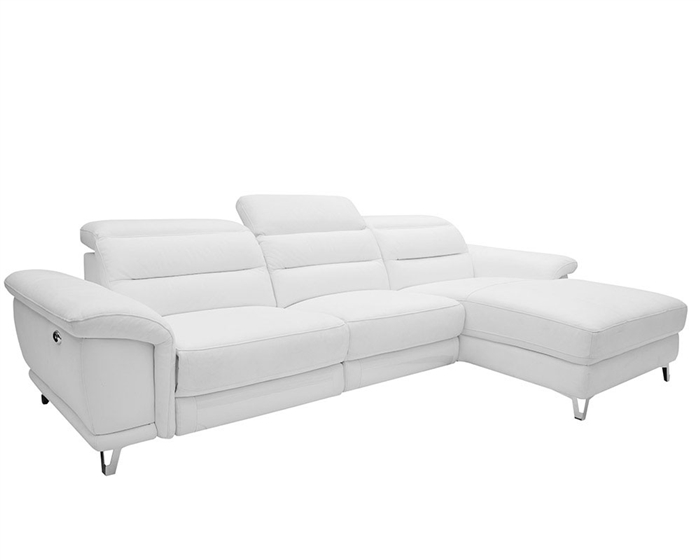 Lorenzo Modern Double recliner Sectional White Leather